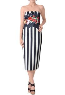 midnight-blue-white-striped-tube-dress