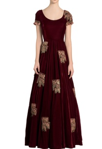 ox-blood-velvet-embroidered-anarkali-dress