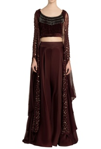 dark-brown-velvet-crop-top-palazzo