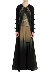 black-embroidered-layered-jacket-flared-pants