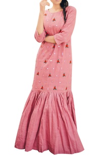 baby-pink-khadi-ankle-length-dress
