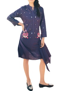 purple-khadi-short-drape-dress