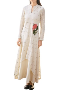 off-white-khadi-dress-double-with-mirror-and-floral-applique-details