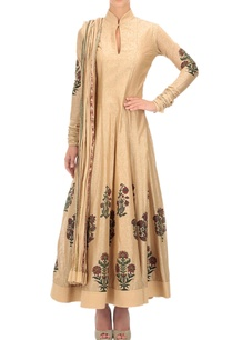 beige-block-print-anarkali-set