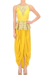 sunflower-yellow-peplum-top-draped-skirt