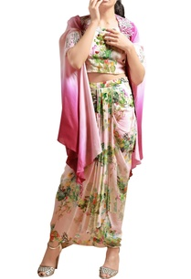 beige-printed-co-ord-set-with-pink-cape