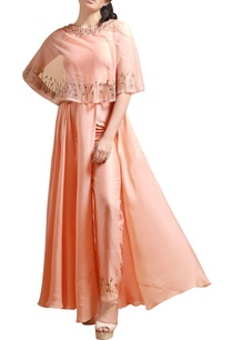 peach-cape-maxi-with-high-waist-pants