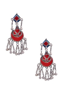 antique-silver-drop-earrings-with-enamel-work