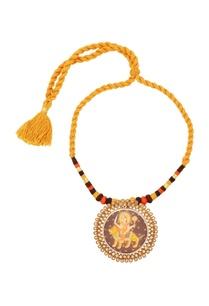 yellow-thread-necklace-with-goddess-durga-pendant