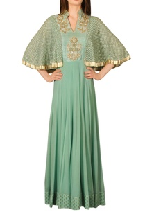 blue-zardosi-work-anarkali-kurta-with-cape-sleeves