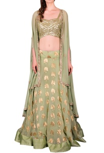 green-lehenga-with-embellished-blouse-and-cape