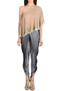 grey-dhoti-pants-with-one-shoulder-cape-top