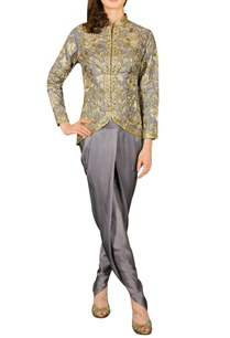 grey-embroidered-jacket-with-dhoti-pants