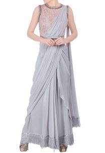 grey-sari-peach-embellished-blouse