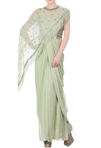 pista-green-sari-gown-cape