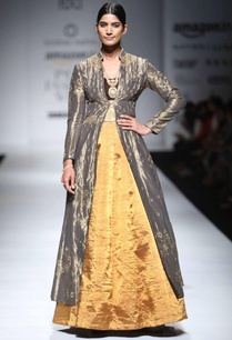 saffron-gold-lehenga-with-silver-embroidered-jacket