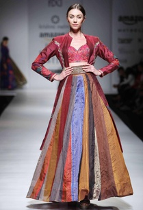 pink-embroidered-blouse-with-lehenga-maroon-jacket