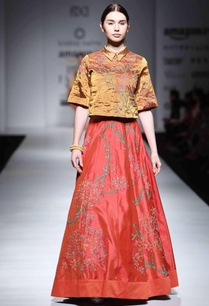 red-embroidered-lehenga-with-burnt-orange-shirt-top