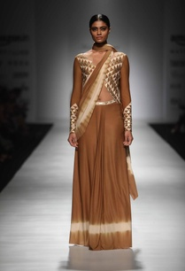 brown-ivory-embellished-sari-gown