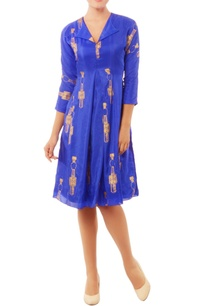 blue-dress-with-gold-tribal-prints