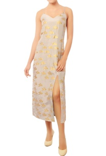 grey-front-slit-dress-with-gold-abstract-prints