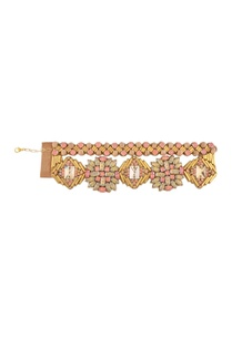 rose-pink-carnation-gold-metal-crystal-bracelet
