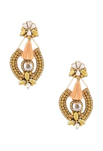 antique-gold-plated-beaded-peach-tassel-earrings