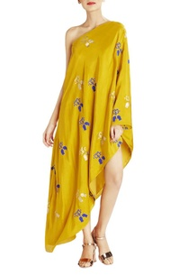 ochre-one-shoulder-maxi-dress