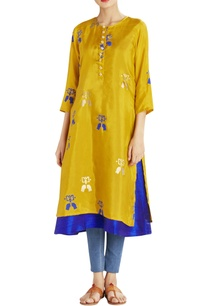 ochre-and-blue-printed-kurta