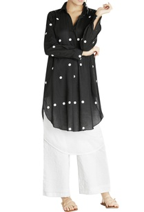 black-white-dotted-double-layer-shirt-kurta-with-white-crushed-pants