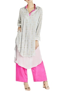 light-grey-printed-double-layered-kurta-with-contrast-pants