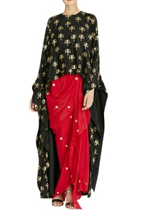black-kurta-red-dhoti-skirt