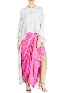 grey-asymmetric-top-with-hot-pink-skirt