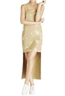 khaki-script-printed-high-low-dress