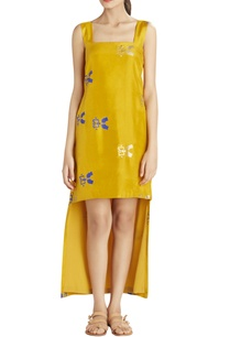ochre-high-low-printed-dress