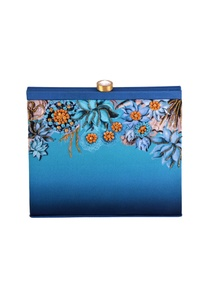 blue-shaded-lotus-print-box-clutch