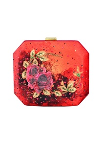 maroon-floral-applique-hexagonal-clutch