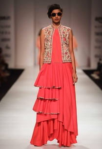 coral-pink-tiered-tunic-skirt-with-embellished-jacket