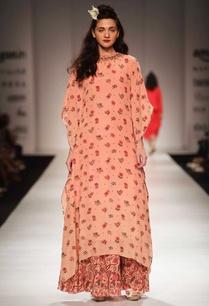 peach-floral-print-kaftan-tunic-skirt