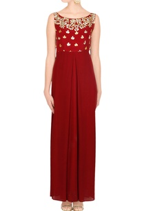 maroon-gown-with-gota-patti-work