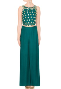 teal-crop-top-palazzo-pants