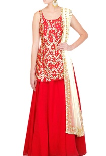 scarlet-red-kurta-with-skirt-dupatta
