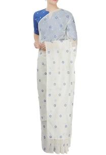 off-white-blue-embroidered-sari