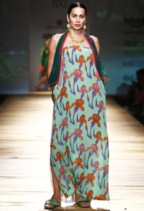 pista-green-printed-tube-maxi-dress