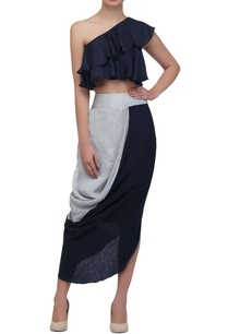 navy-ice-blue-draped-skirt