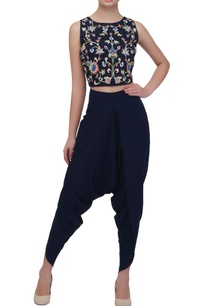 navy-blue-embroidered-crop-top