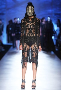 black-embellished-patchwork-dress
