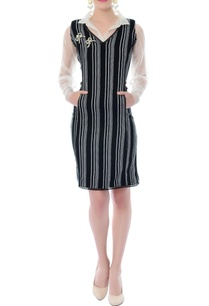 black-white-striped-dress-with-attached-shirt