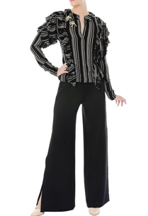 black-white-ruffle-top-bell-bottom-pants