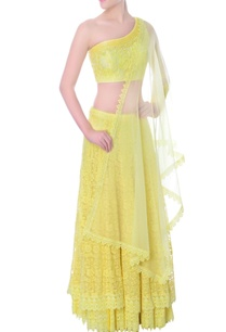 yellow-double-layered-one-sided-crop-top-lehenga-set